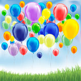 Balloons on the sky. Colorful birthday or party balloons on the sky. Vector illustration Royalty Free Stock Photography