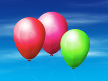 Balloons in the sky. Colorful flying balloons on a blue sky background Stock Photo