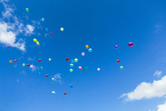 Balloons in the sky stock photo