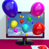 Balloons In The Sky And Coming Out. Of The Screen For Online Greeting Or Www Message Stock Photography