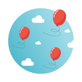 Balloons in the sky. Concept of freedom and team working Royalty Free Stock Image