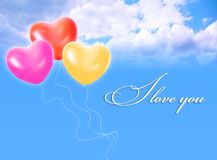 Balloons in sky and LOVE word Royalty Free Stock Photo