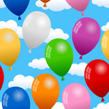 Balloons in the Sky Seamless Pattern. A seamless pattern with colorful party balloons flying in the sky, on white background. Eps file available Stock Images