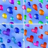 Balloons in sky, seamless, set. Set of seamless backgrounds with balloons of various colors flying in the blue sky Stock Photos