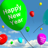 Balloons In The Sky Showing Happy New Year. Balloons In The Sky Show Happy New Year Royalty Free Stock Photo