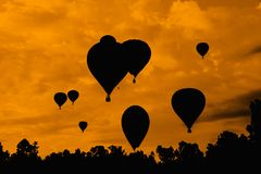 Balloons in the sky silhouette Royalty Free Stock Photography