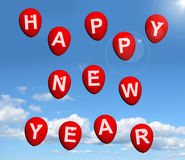 Balloons In The Sky Spelling Happy New Year. Balloons Floating In The Sky Spelling Happy New Year Royalty Free Stock Photo