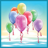 Balloons in the sky. Stylized vector illustration on the theme of the festival, parties and so on. colorful festive balloons in the sky Stock Images