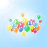 Balloons in the sky. Sun and flying colored balloons on sky background, illustration Royalty Free Stock Photo
