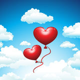 Balloons in the Sky. Vector illustration representing red shining balloons in the shape of heart, flying through the clouds in the sunny sky Royalty Free Stock Images