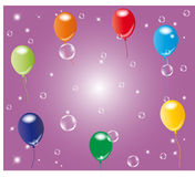 Balloons with soap bubbles Royalty Free Stock Photos