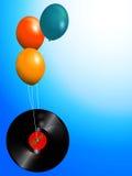 Balloons and spring vinyl record  background Stock Photos
