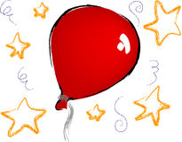 Balloons and stars. Vector - red balloons and stars on white background Stock Image