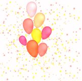 Balloons on stars background. Balloons on light pink and stars background Stock Image