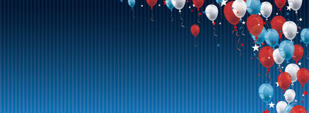 Balloons Stars Blue Vintage Header. Vintage header with striped background, balloons and stars vector illustration