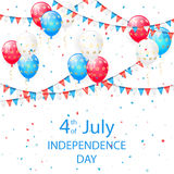 Balloons with stars in Independence day background. Colorful balloons, pennants and confetti on white background, theme of Independence Day, illustration Stock Photos