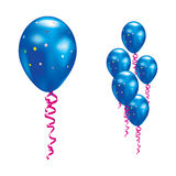 Balloons with stars and ribbons. Royalty Free Stock Image