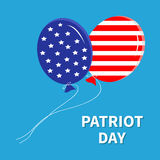 Balloons with stars and strips flying in the sky. Patriot day Flat design Stock Images