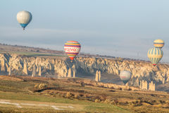 Balloons and a strange landscape Royalty Free Stock Photos