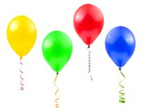 Balloons and streamer. Isolated on white background Royalty Free Stock Photo