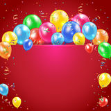 Balloons and streamer on red background Stock Images