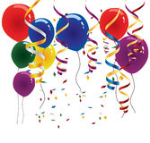 Balloons and Streamers. Selection of different colored balloons, streamers and confetti. Fully editable for your next function Royalty Free Stock Image