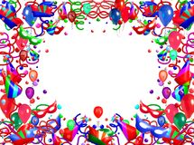 Balloons and streamers. Border illustration of balloons, streamers, confetti, party hats and masks isolated on white background Stock Images