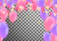 Balloons, streamers and confetti isolated on background. Eps.10 Stock Photography