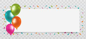 Balloons with streamers and white Paper free Space. Transparent background. Birthday, Party and Carnival Vector. Eps10 Vector Royalty Free Stock Photos