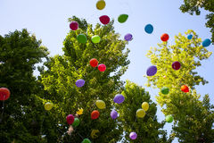 Balloons in the summer Park festival in a Sunny day Royalty Free Stock Photography