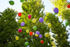Balloons in the summer Park festival in a Sunny day Royalty Free Stock Images
