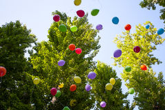 Balloons in the summer Park festival in a Sunny day Royalty Free Stock Image