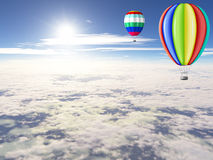 Balloons are in the sunny sky. Royalty Free Stock Photos