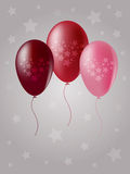 Balloons. Three balloons in the starry background Stock Image