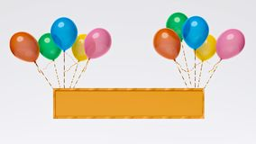 Balloons tied in a board with copy space 3d rendering stock illustration
