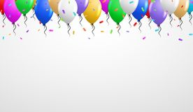 Balloons on the top. With falling confetti and gray gradient background Stock Photography
