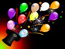 Balloons in top hat Royalty Free Stock Images