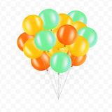Balloons on transparent background. Bunch of balloons isolated. Vector illustration. Balloons on transparent background. Vector set for greeting cards. Isolated Royalty Free Stock Photography
