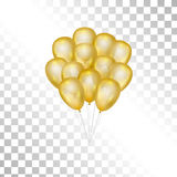 Balloons on transparent background. Vector illustration. Balloons on transparent background. Vector elements for greeting cards. Gold bunch of balloons isolated Stock Image