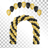 Balloons on transparent background. Vector illustration. Balloons on transparent background. Vector set for greeting cards. Arch of balloons . Gold and black Stock Images