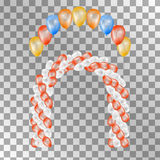 Balloons on transparent background. Vector illustration. Balloons on transparent background. Vector set for greeting cards. Arch of balloons . Red orange yellow Royalty Free Stock Images