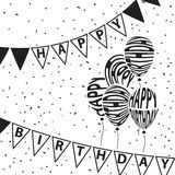 Balloons and triangle flags Happy Birthday text warping Stock Images