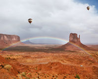 Balloons under storm clouds. Stock Image