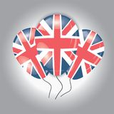 Balloons with United Kingdom flag. On a gray background Stock Photography