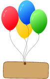 Balloons vector. Four colorful balloons with an empty banner to say anything Stock Image