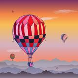 Balloons vector card. Some differently colored striped air balloons flying in the clouded evening sky. Patterns of clouds and stock illustration