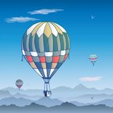 Balloons  card. Some differently colored striped air balloons flying in the sunny sky. Patterns of clouds and birds soaring vector illustration