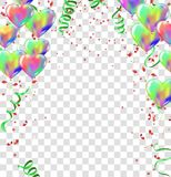 Balloons, vector illustration abstract colorful celebration back. Ground with confetti.Party streamers Royalty Free Stock Images