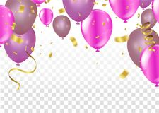 Balloons, vector illustration. Confetti and ribbons, Celebration. Background template with. explosion in center on a white background Royalty Free Stock Photos