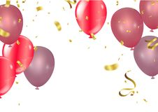 Balloons, vector illustration. Confetti and ribbons, Celebration. Background template with. explosion in center on a white background Stock Photo